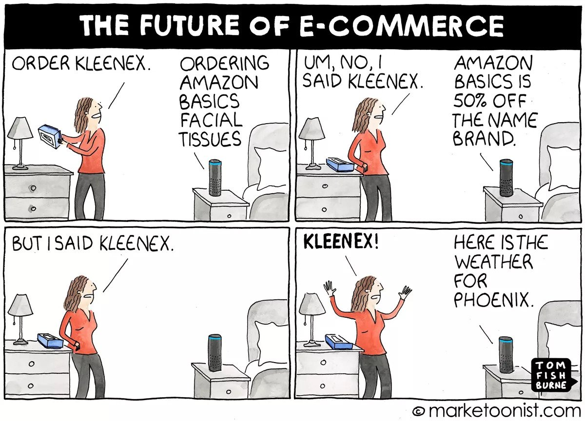 - The Future of E-Commerce cartoon | Marketoonist | Tom Fishburne: Voice is starting to redefine how consumers buy brands. Brands will increasingly have to navigate a world that doesn't have a traditional user interface — zero UI.