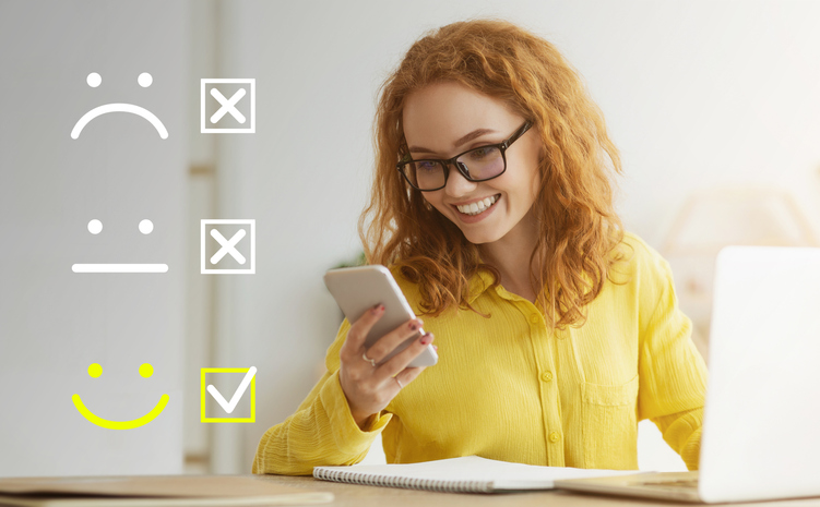 Smart young woman appreciating new online course